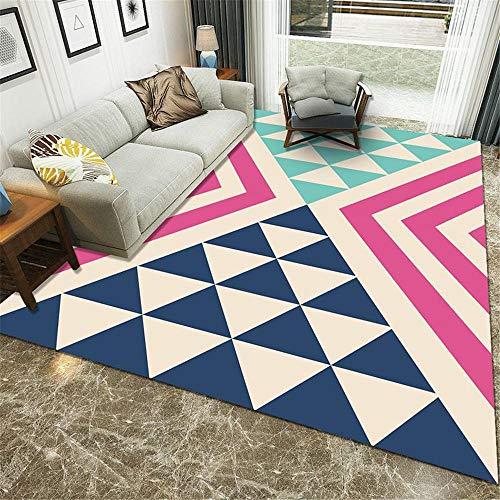 WBDYMX woonkamer slaapkamer decoratieve tapijten Soft Touch en onderhoudsvriendelijk onderhoud van het hoogwaardige tapijt met blauwe driehoek op de open haard
