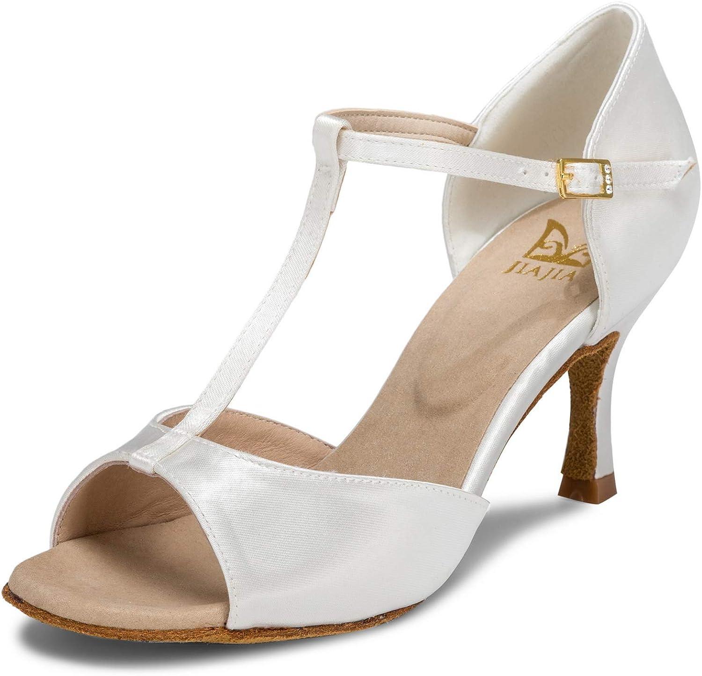 JIAJIA 20511 Women's Satin Sandals Flared Heel Latin Salsa Performance Dance Shoes