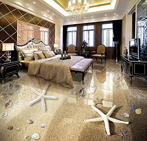 3D Flooring Customize 3D Photo Wallpaper Beach starfish conch Self adhesive Vinyl Wallpaper 3D Floor Tiles For Living Room-350x245cm