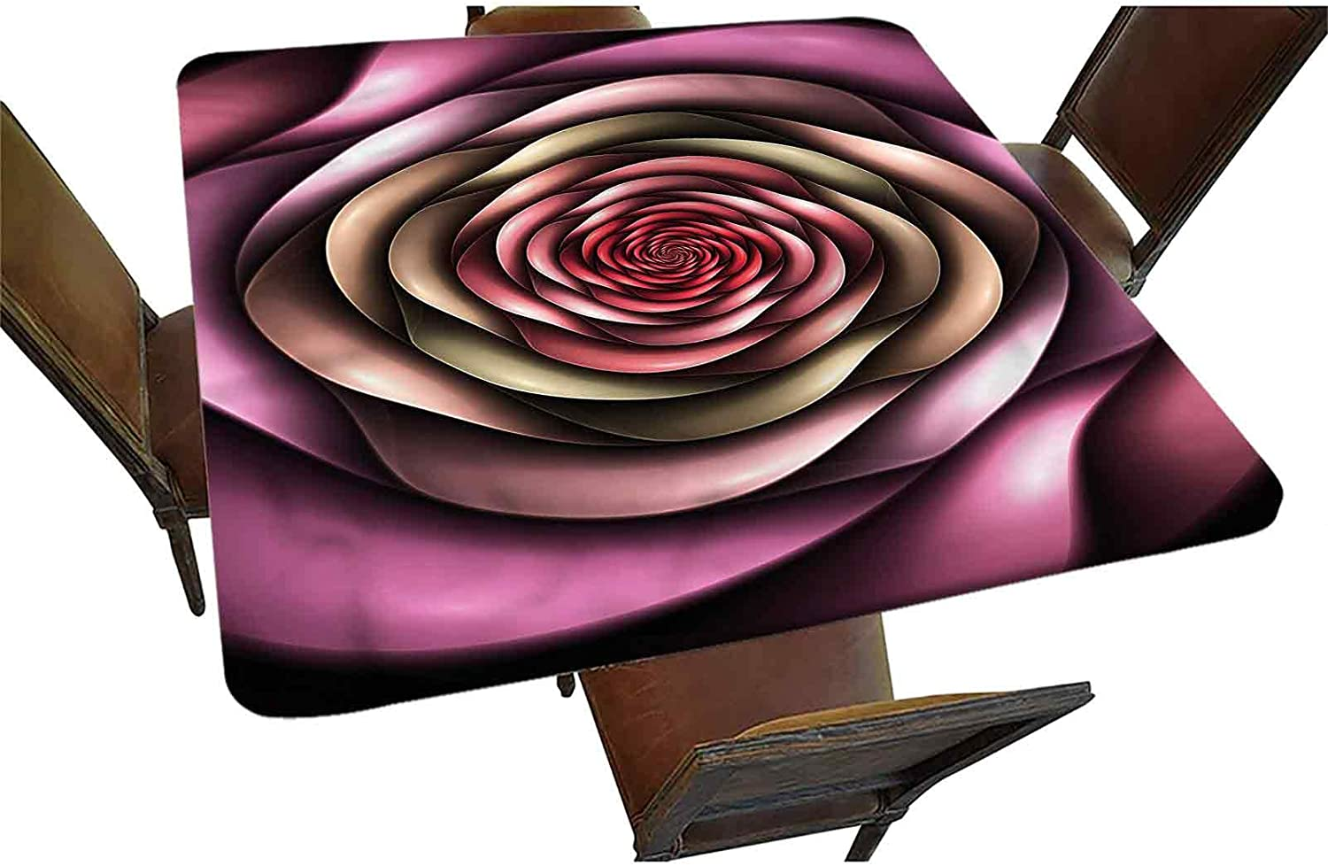 Spires Decorative Elastic Ranking TOP20 70% OFF Outlet Edged Square Fitted Rose Tablecloth Pe