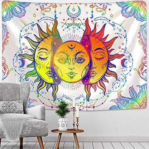 Tapiz de Mandala Blanco y Negro con Sol y Luna, Tapiz para Colgar en la Pared, brujería, alfombras de Pared Hippie, decoración para Dormitorio, Tapiz psicodélico