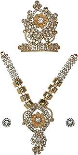 Devi Maa/Radha Rani/Laddu Gopal Shringar Set Faux Diamond Mukut, Mala & Earrings Combo Deities jewellary Set for Idol Stat...