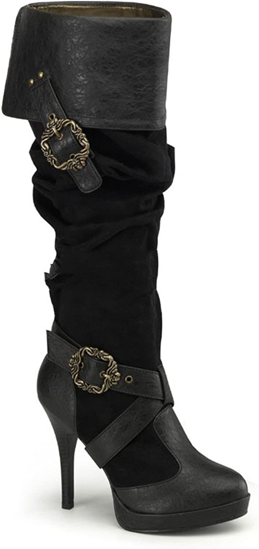4 1 2  Heel, 1 2  P F Cuffed Knee Boot W Octopus Buckles