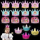 Papierhüte Party King Crown,Partyhüte Geburtstag Dekoration,Spaß Geburtstag Party Hüte,Partyhüte Gold Papier Krone,Schöne Kuchen Kegel Geburtstag Papier Hüte,Party Kegel Hüte für Kinder und Erwachsene