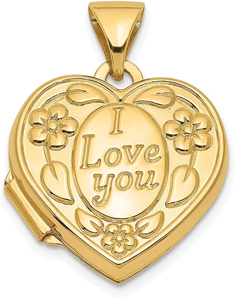 14k Yellow Gold Floral I Love You Heart Photo Pendant Charm Locket Chain Necklace That Holds Pictures Fine Jewelry For Women Gifts For Her