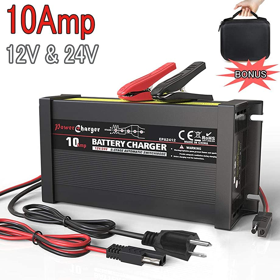 LST Truck Battery Charger Maintainer Auto Trickle Deep Cycle Charging for Automotive Car Marine RV SLA ATV AGM Gel Cell WET Lead Acid Batteries