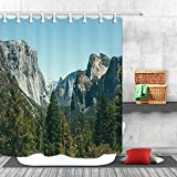 Cortina de ducha con diseño de montañas rocosas y bosques, 12 ganchos
