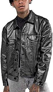 COOFANDY Men's Metallic Trucker Jacket Gold Silver Leather Jacket Motorcycle Biker Jackets