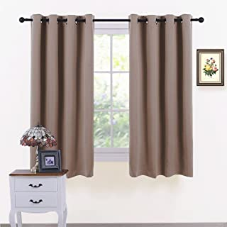 PONY DANCE Bedroom Curtains Blackout - Thermal Drapes Heavy Duty Light Blocking Shandes Grommet Top Window Treatments Cover Noise Reducing, W 52 x L 45 in, Mocha, Set of 2