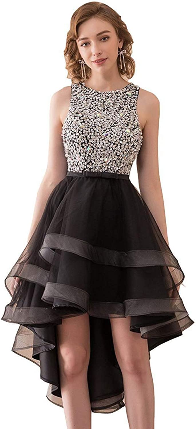 Alexzendra High Low Prom Dress Beads Sequins Black Homcoming Dress