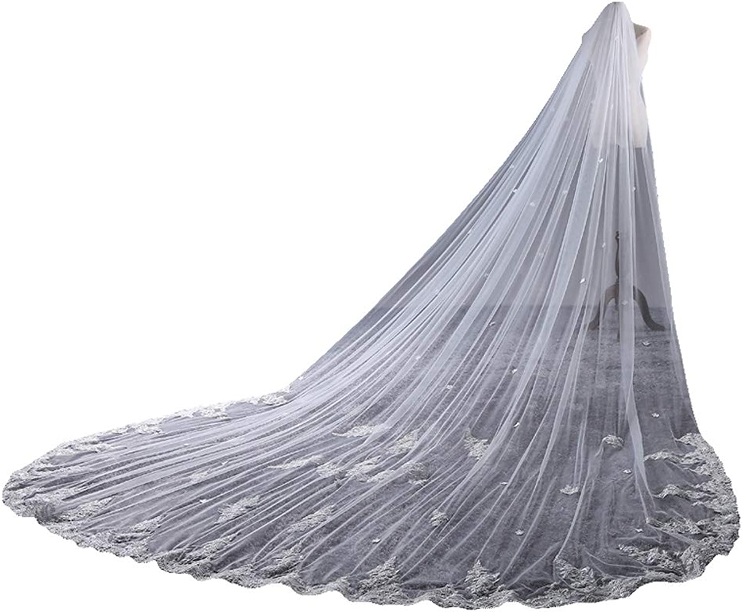 Fenghauvip Lace Appliques Wedding Veil 2 Tier Tulle 3D Flowers Cathedral Veils with Comb