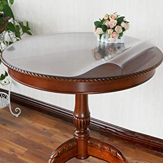 PVC Tablecloth Round Tablecloth Waterproof Soft Glass Transparent Table Cloth Clear Table Protector Tablecloth for Dining ...