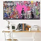 ganlanshu Pintura sin Marco Resumen Famoso Street Art Pop Poster sobre Lienzo con Graffiti para Sala de estarCGQ7303 20X40cm