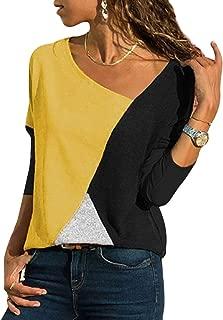 YOINS Camiseta Mujer de Manga Larga Blusa con Hombros Fríos Camisa Casual Camisetas a Rayas Cuello Redondo Imprimiendo Pullover