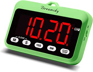 DreamSky Digital Kitchen Timer with Large Red Number Display, Count Up/Down Timer, Magnetic Back Foldout Stand, Battery Op...