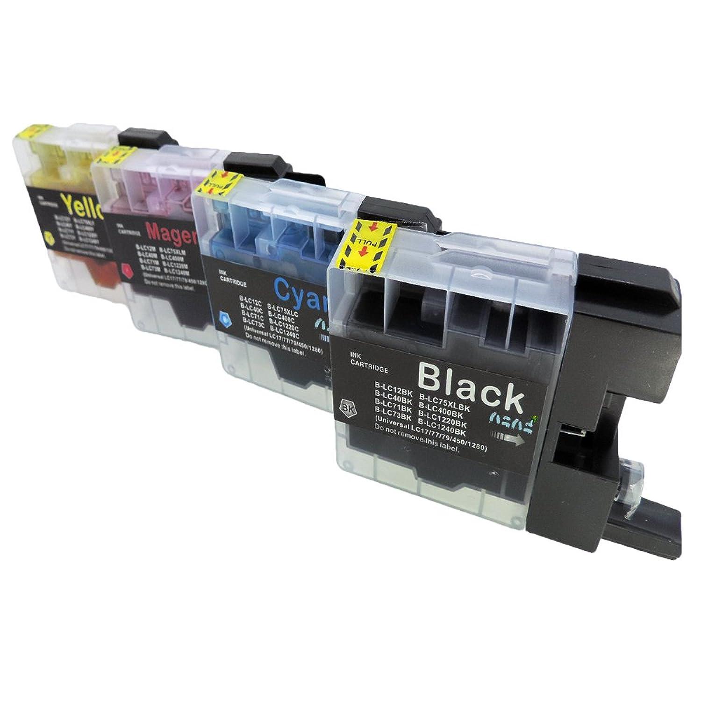 brother ブラザー LC12 (BK/C/M/Y) 4色セット 残量表示可能ICチップ付 互換インクカートリッジ 最優良品質【ハニハニ製 1年保証付】