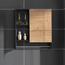 N/Z Home Furnishings Bathroom Cabinet Wall Mounted with Doors Wood Hanging Cabinet with Doors and Shelves with Towels Bar ...