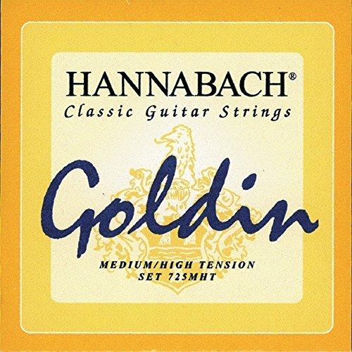Hannabach Cuerdas Para Guitarra Clasica, Serie 725 Tension Media/Alta Goldin - Juego 3 Cuerdas Agudas Mi1+Si2+Sol3