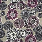 0,5m Dekostoff Ornamente grau-violett 100% Baumwolle