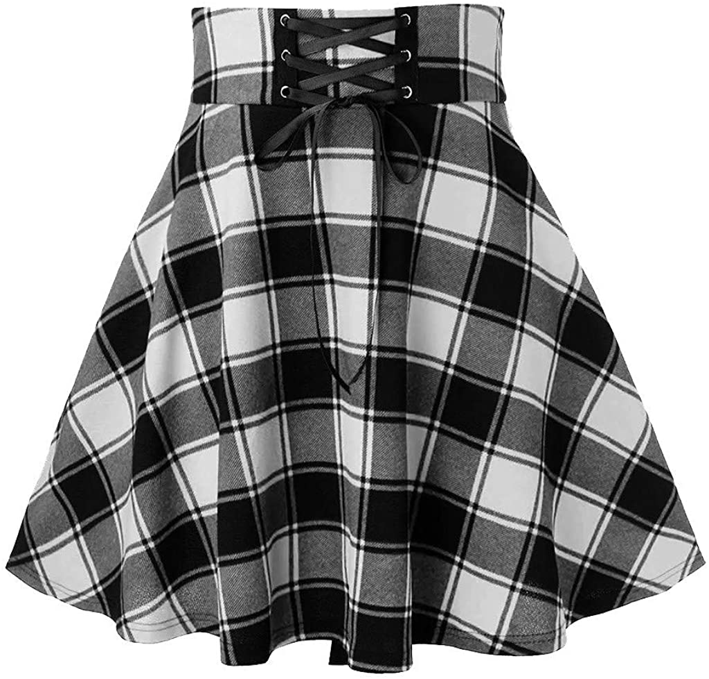 IXnzadn Women's Lattice Printing Skirts Arlington Mall Mini Splicing depot Skirt Self
