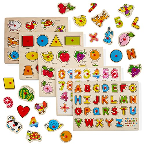 THE TWIDDLERS 5 Puzzles en Bois: Lettres & Chiffres, Formes, Fruits, Animaux - Jouet Éducatif pour Bébés, Tout-Petits et Enfants