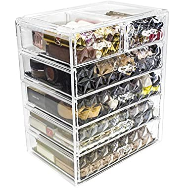 Sorbus Cosmetics Makeup and Jewelry Big Storage Case Display - Stylish Vanity, Bathroom Case (4 Large, 2 Small Drawers, Diamond)