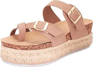 Women's Toe Ring Strappy Chunky Espadrille Flatform Slide Sandal