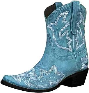 Yowablo Bottes Femmes Mode Slip-on en Cuir Bout Rond Chaussures À Talons Bas Cowboy Knight