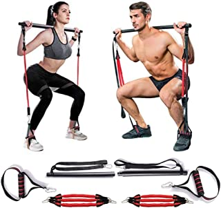 MMCAT Portable Home Gym Yoga Pilates Stick Fitness Bar Kit for Women & Men Squat and Glutes Workout, Adjustable Exercise R...