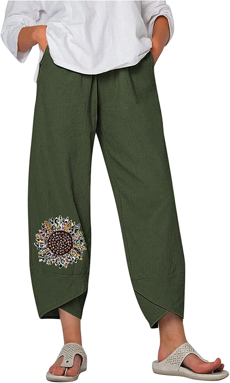 Women Lady Flowers Print Elastic Girdle Waist Wide Leg Pants Trousers Summer Women Casual Pants