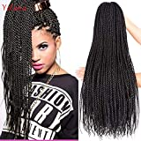 24 Inch 6 Packs Micro long Senegalese Twists Crochet Hair Pre-looped Bohemian Small Havana Twist Braid Hair Styles Natural Black Synthetic Hair Extensions for Black Women (6 Packs, Black Color)