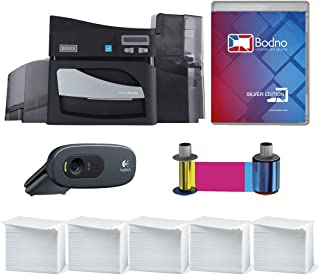 Fargo DTC4500e Single Sided ID Card Printer & Complete Supplies Package with Silver Edition Bodno ID Software