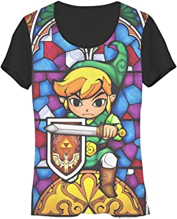 Nintendo Zelda Stained Glass Link Sublimation Juniors T-Shirt