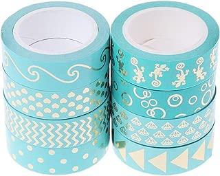 Bhty235 - Cinta adhesiva decorativa de papel washi (15 mm x 10 m), color dorado