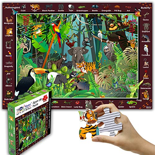 """Think2Master Colorful Rainforest Jungle 100 Pieces Jigsaw Puzzle Fun Educational Toy for Kids, School & Families. Great Gift for Boys & Girls Ages 4-8 to Stimulate Learning. Size:23.4"""" X 16.5"""""""