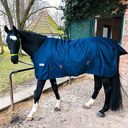Regendecke mit Kreuzgurt für Pferde, Ponys Weidedecke – Ganzjahres Decke für Outdoor, wasserdicht, 125 cm - 175 cm (Blau, 125 cm)