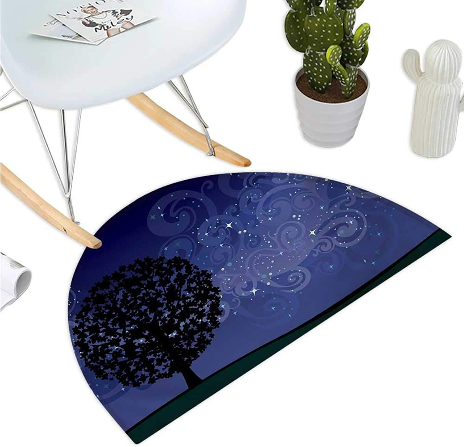 Starry Night Semicircular Cushion Tree on a Hill with Star Filled Sky and Moon Milky Way Galaxy Entry Door Mat H 35.4  xD 53.1  Indigo Charcoal Grey Black