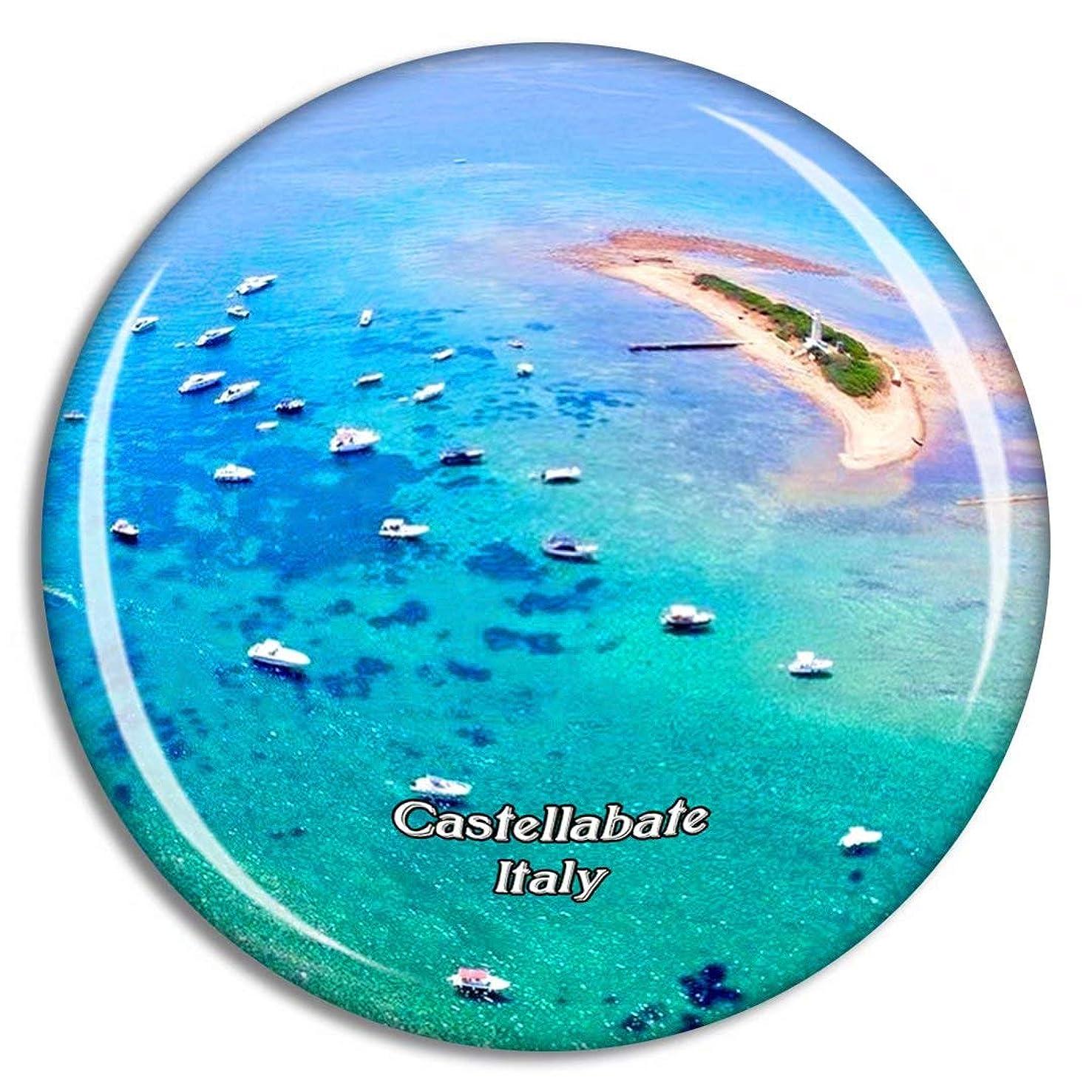 気づかない悔い改め病的Weekino イタリアCastellabate Punta Licosa冷蔵庫マグネット3Dクリスタルガラス観光都市旅行お土産コレクションギフト強い冷蔵庫ステッカー