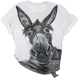 Womens T Shirt Donkeys Printed Pullover
