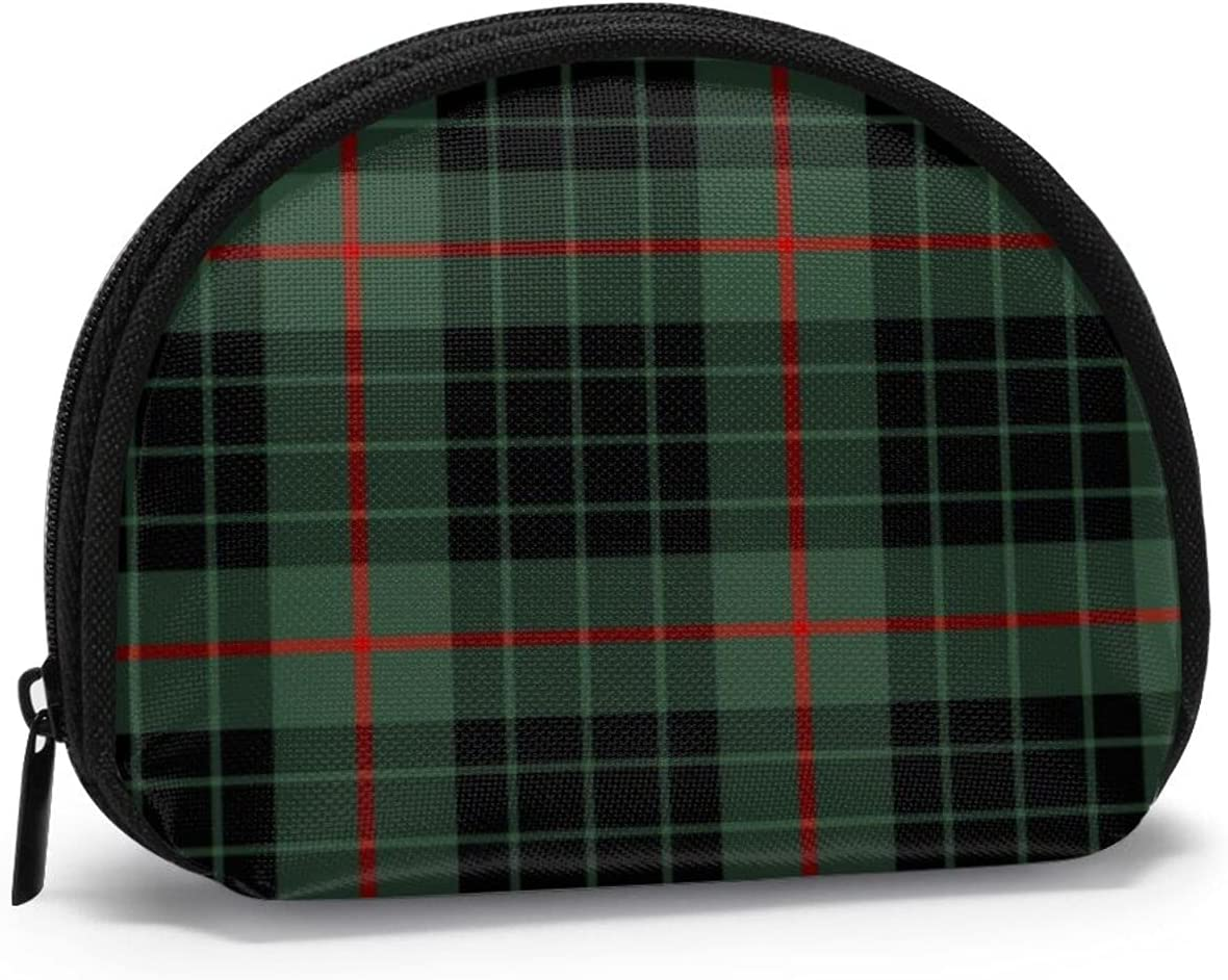 small zipper Coin Purses Vintage zipper Pouch Change Purse Wallets Clan Gunn Dark Green And Black Scottish Tartan