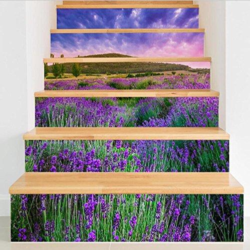 Sticker mural escalier bricolage fleurs 3D auto-adhesiveRefurbished PVC respectueux de l'art mural Papier peint amovible Décorations Accueil ,facile à appliquer,1 jeu (6 pc)