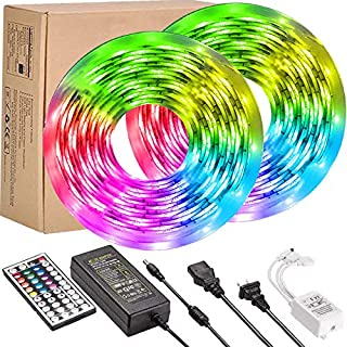 UMICKOO LED Strip Lights Kit,Waterproof 32.8feet RGB SMD 5050 LED Rope Lighting Color Changing Full Kit with 44-Keys IR Remote Controller, Power Supply Led Lights for Bedroom Home Kitchen Decoration