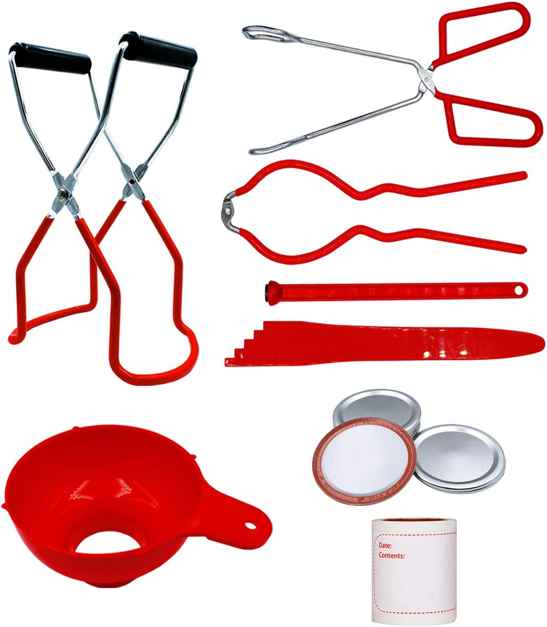 Canning Kit, Canning Supplies Starter Kit for Beginners, 8 items: Canning Jar Lifter, Canning Funnel, Mason Jar Wrench, Lid Lifter, Tongs, Bubble Popper, Mason Jar Lids, Mason Jar Labels