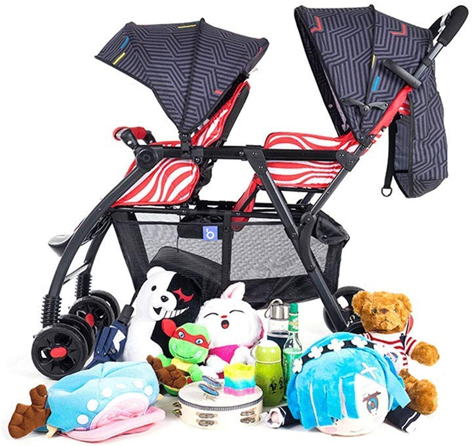Twin Baby Stroller Front and Rear Seat Double Baby Stroller Lightweight Folding Can Sit Reclining Baby Travel Pram,Red