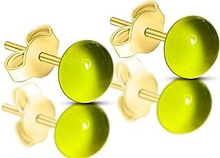 Orecchini Verde chiaro in vetro di Murano, Creazioni Pireta, placcato in oro 18k, anallergico, fatto a mano, hand made, Ma...
