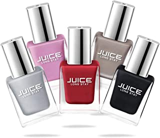 Juice Nail Polish Pack of 5 Liquid Silver/Charm Pink/Tickle Me Pink/Sweet Orange/Charcoal Star GLOSS COMBO_16