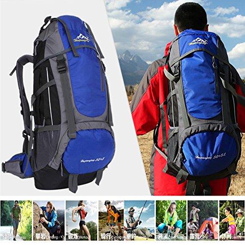 55L étanche sac à dos Wuiyepo Outdoor Voyage Camping Randonnée Trekking Sac à dos alpinisme randonnée Sac à dos unisexe, bleu