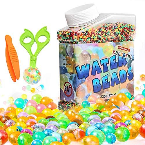 Bolas de Gel de Agua, 50,000 Pcs Bolas Hidrogel Niños No Toxicas, Perlas de Gel Plantas Bolitas de Hidrogel Decoración de Jarrones Juguetes de Los Niños Decoración Hogareña