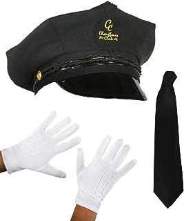 ILOVEFANCYDRESS ONE Size FITS Most Chauffeur HAT Set Cap HAT Glove TIE Fancy Dress KIT Black HAT