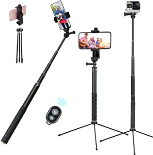 Selfie Stick Separable Tripod Stand 52in Extendable w/Rotatable Phone Holder and Bluetooth Remote for Desktop/Floor/Monopod Photo Video Live Stream Fit for 4.2-7 inch iPhone Android Phone Samsung